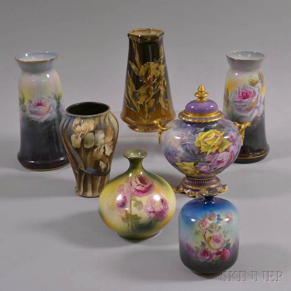 Seven Royal Bonn Floral-decorated Ceramic Vases