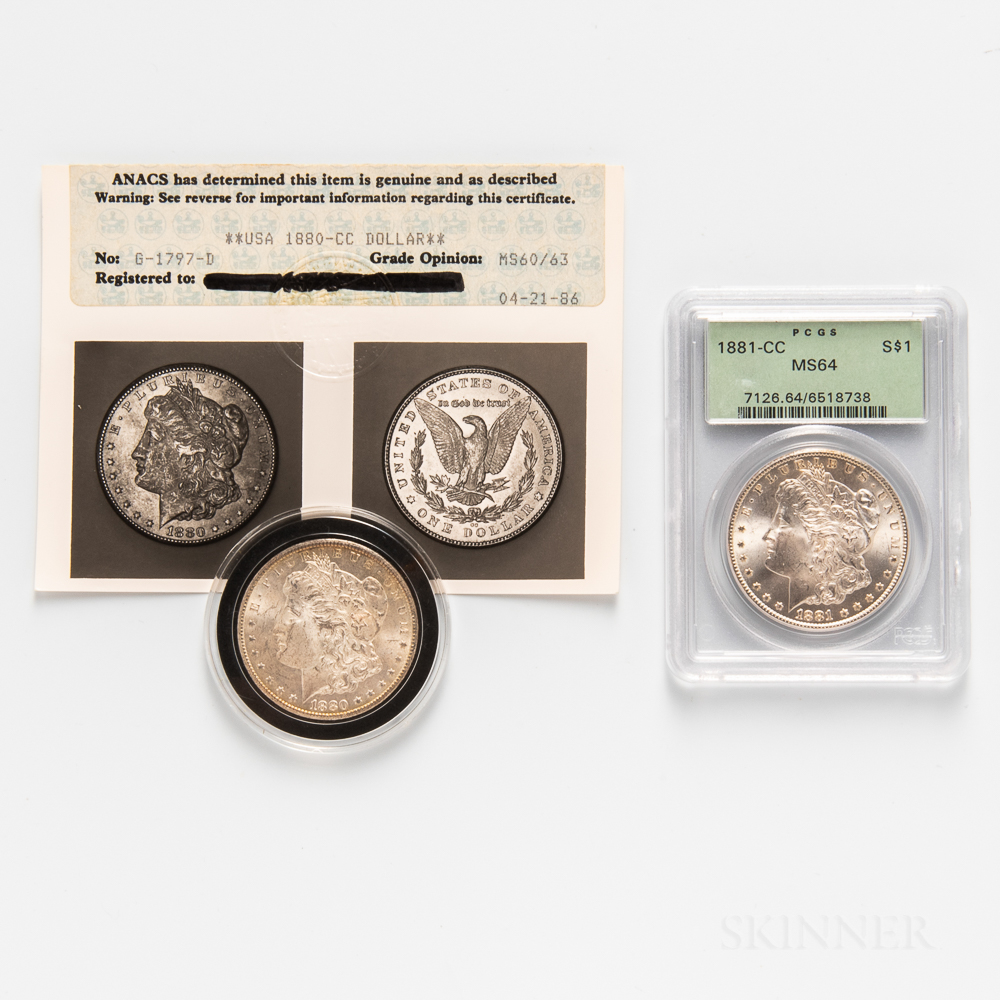 1880-CC and 1881-CC Morgan Dollars