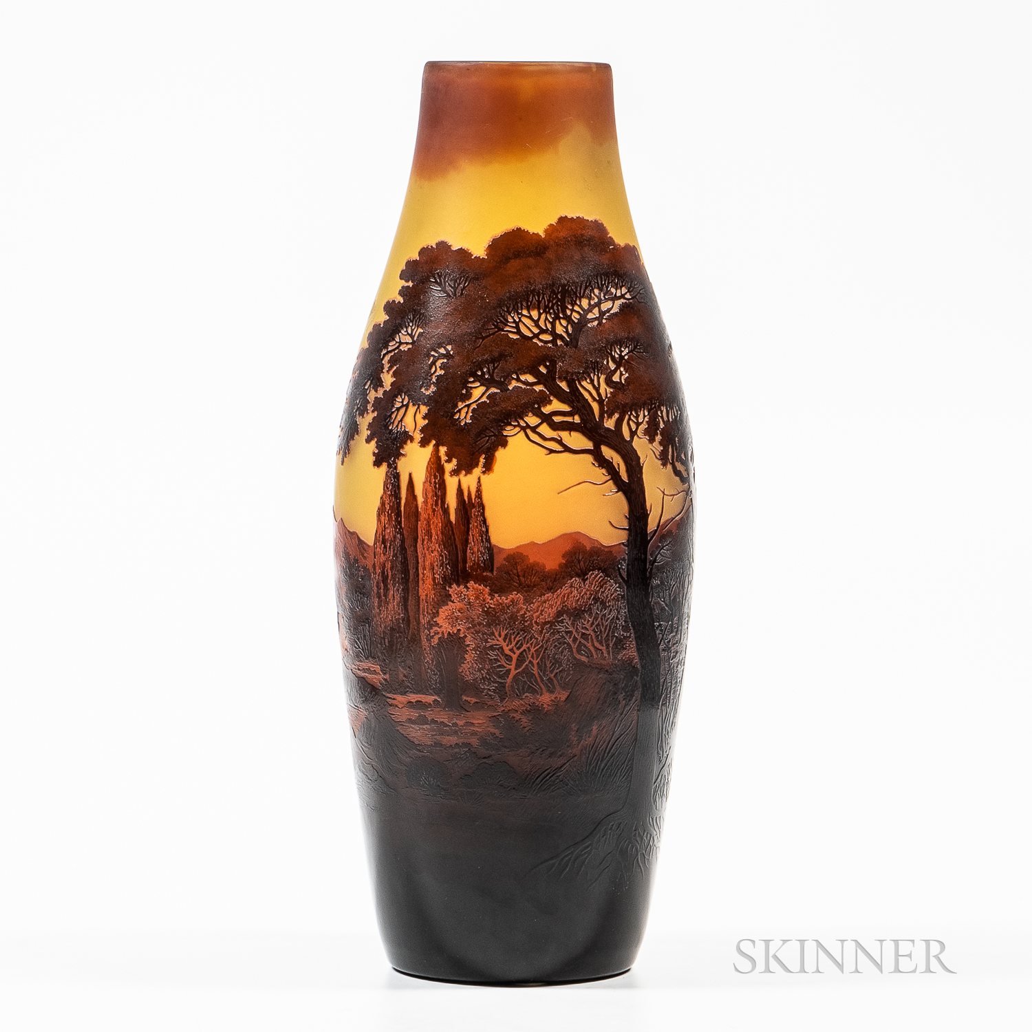 Tall D'Argental Cameo Glass Vase