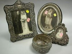 Three Silver Mounted Picture Frames and an Indian Silver Bowl.