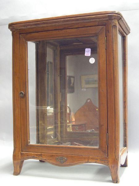 Small French Provincial Rococo-style Fruitwood Vitrine Cabinet.