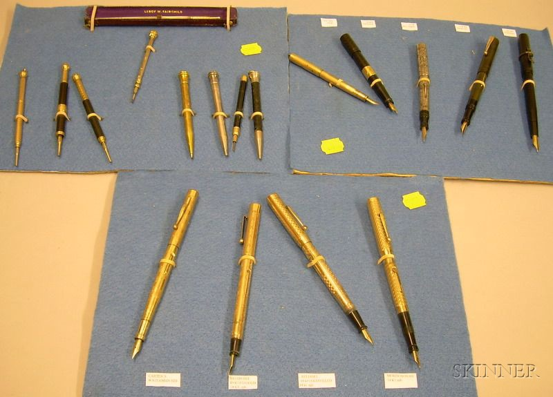 Nine Assorted Fountain Pens, Eight Mechanical Pencils, and a Mother-of-Pearl Quill   Pen