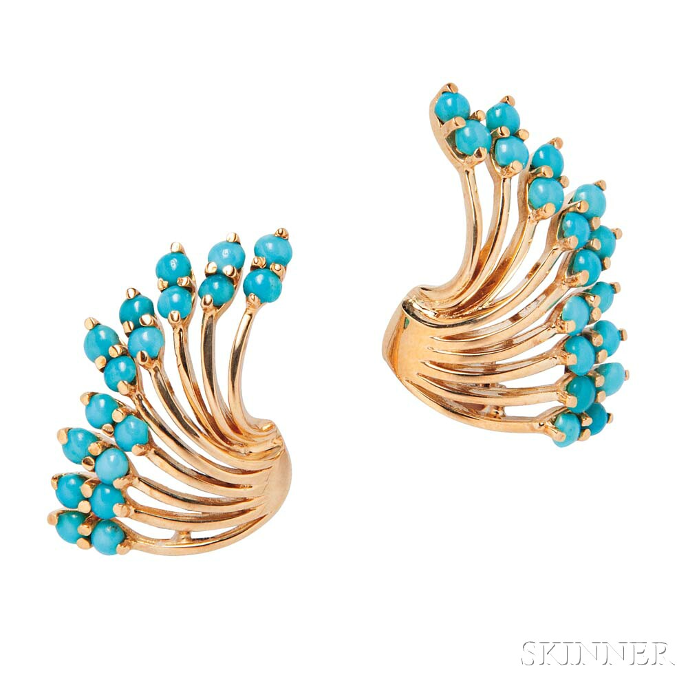 14kt Gold and Turquoise Earrings