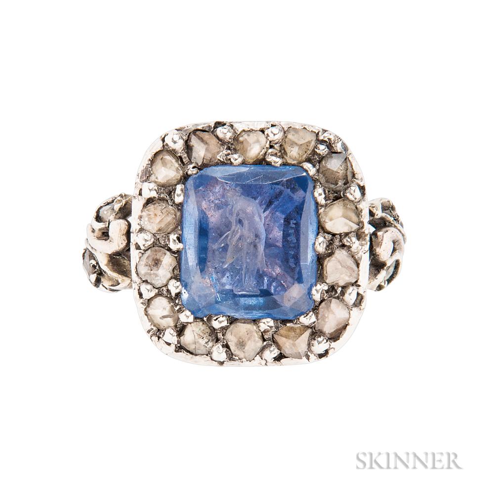 Antique Sapphire Intaglio and Diamond Ring