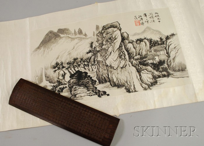Asian Wooden Wrist Rest with Calligraphy and a Asian Scroll Painting