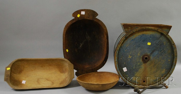 Three Hewn and Turned Wooden Bowls and a Blue-painted Wood Countertop Drum Churn.