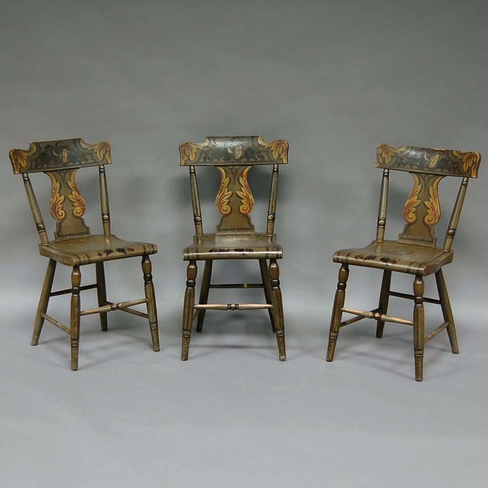Set of Six Pennsylvania Classical Polychrome Paint-decorated Wood Side Chairs.     Estimate $400-600