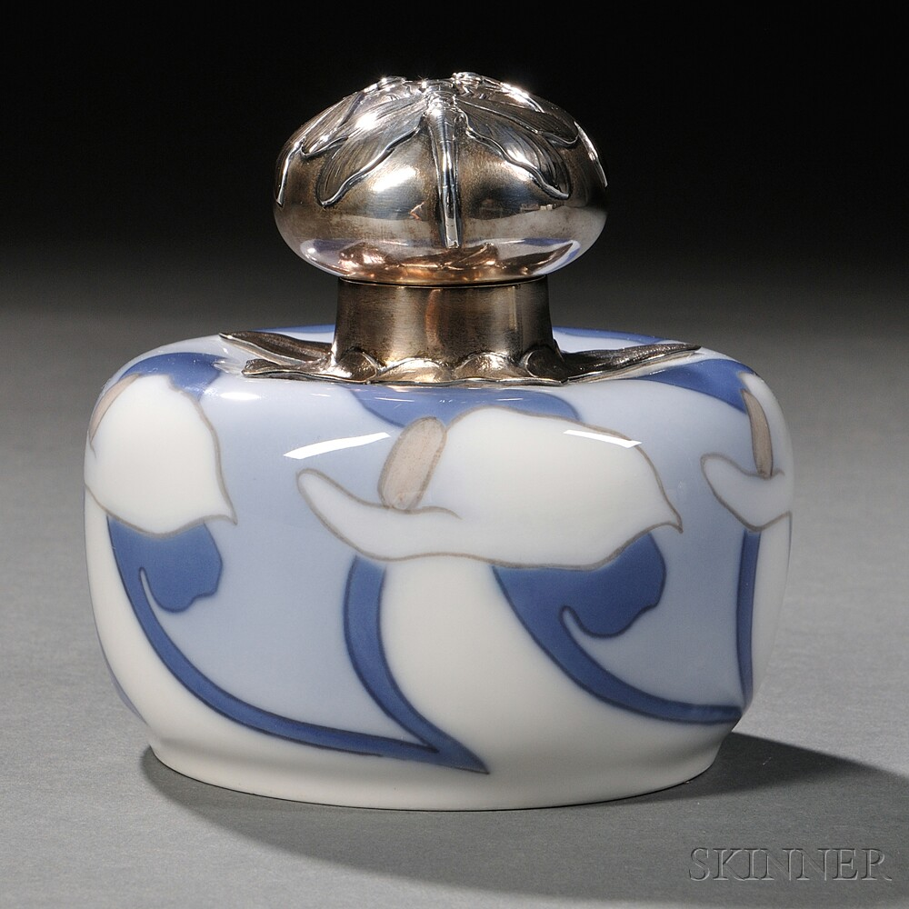 Royal Copenhagen Sterling Silver-mounted Porcelain Vial and Cover