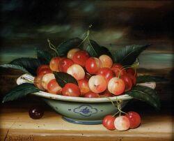 Dominique Obeniche (Continental, 20th Century)  Still Life with Cherries