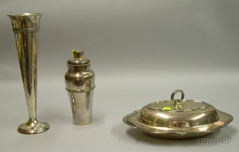 Silver Plated Trumpet Vase, Meriden Cocktail Shaker, and a Covered Vegetable Dish.