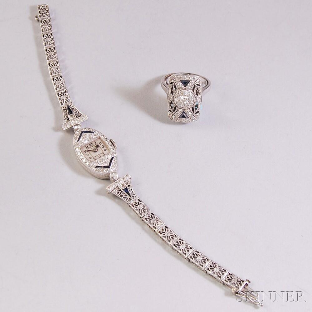 Two Art Deco Diamond and Sapphire Jewelry Items