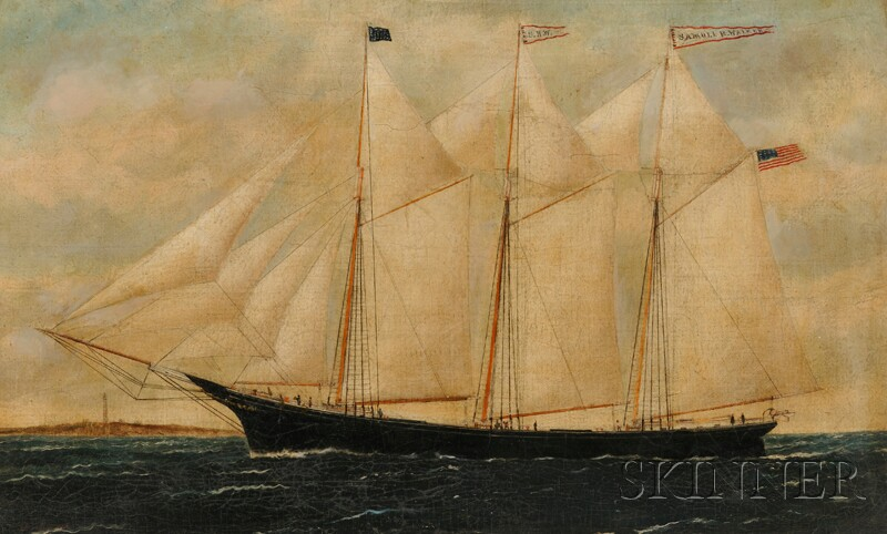 William P. Stubbs (American, 1842-1909)      Portrait of the Three-masted Schooner SAMUEL H. WALKER   with Distant   Lighthouse.