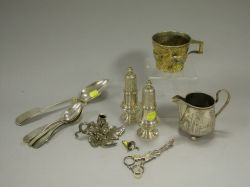 Pair of Sterling Silver Casters, Gilt Repousse Cup, Sugar Tongs, Eight Coin Silver Spoons, a Plated Leaf Figural Chamberstick and a Cre