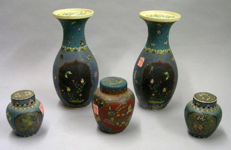 Five Asian Cloisonne on Porcelain Table Items
