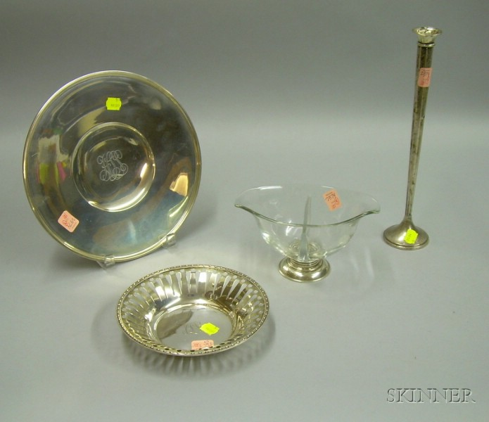 Sterling Silver Cake Plate, Reticulated Bowl, Bud Vase, and a Footed Divided Glass Condiment Bowl.
