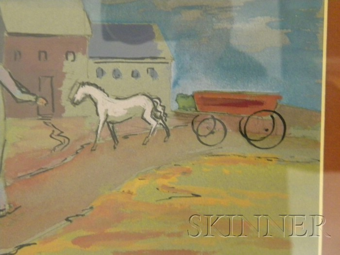 Herman Maril (American, 1908-1986)      Landscape with Horse-drawn Wagon and Walking Man with Rake.