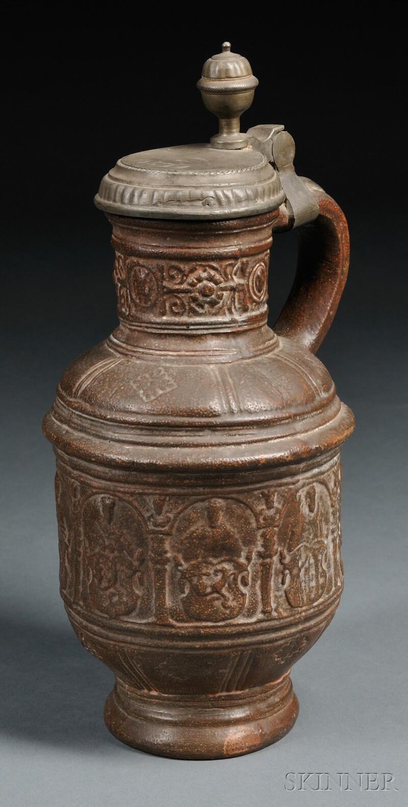 German Brown-glazed Redware Stein