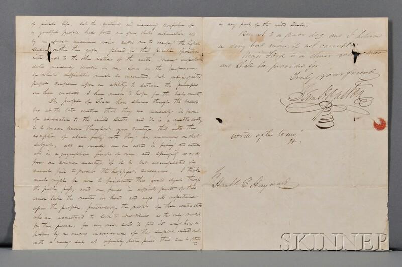Houston, Samuel (1793-1863)   Autograph and Secretarial Letter Signed, 1 November 1836.