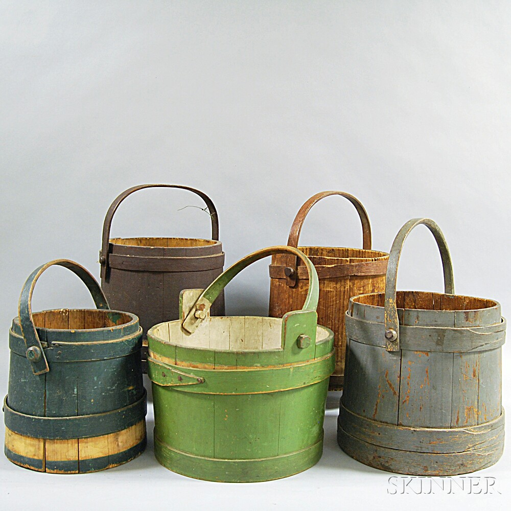 Five Mostly Painted Stave Buckets