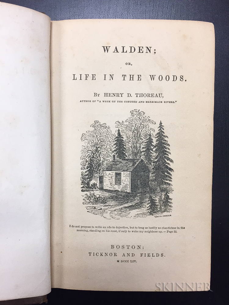 Thoreau, Henry David (1817-1862) Walden; or, Life in the Woods.