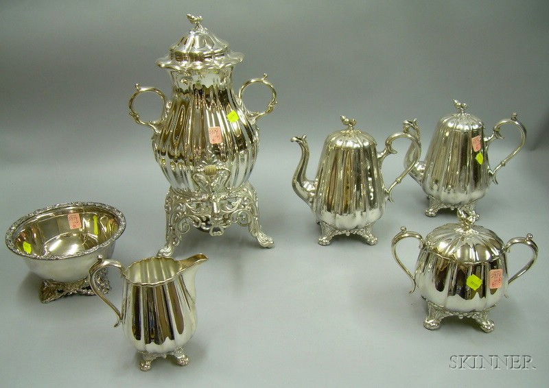 Five-piece Reed & Barton Rococo-style Silver Plated Tea and Coffee Set with a James Dixon & Sons Silver Plated Ivy-footed Bowl.