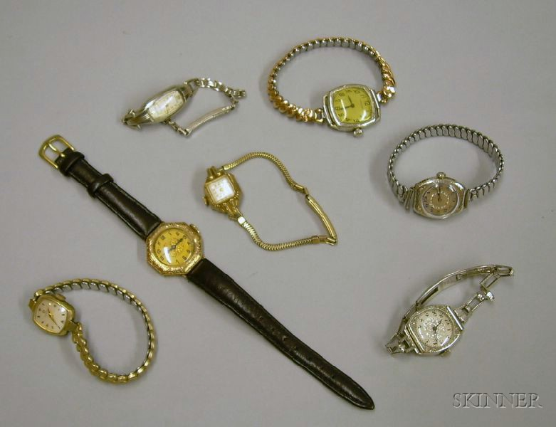 Seven Art Deco and Later Gold-filled Lady's Wristwatches