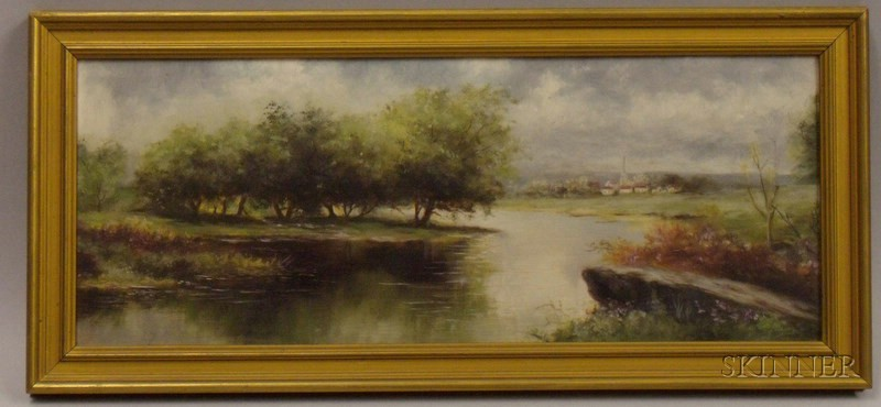 Framed Late 19th/20th Century American School Oil on Panel Landscape