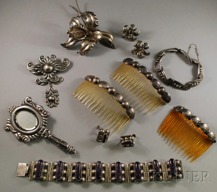 Group of Mostly Mexican Silver Jewelry