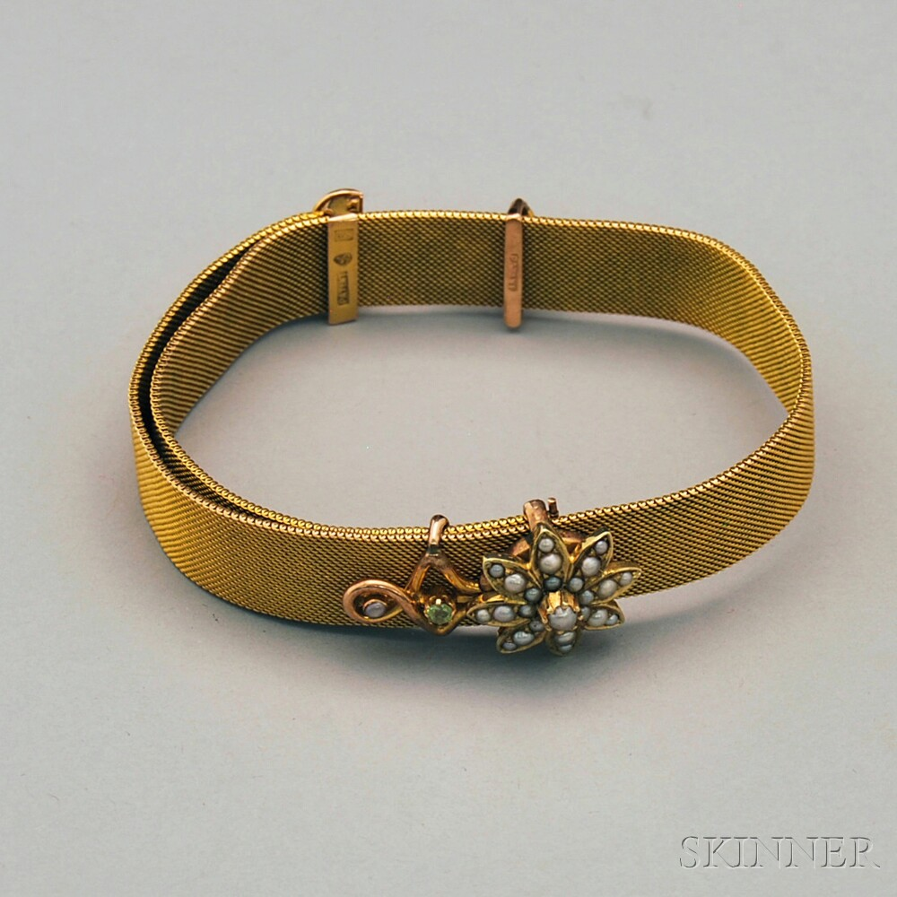 Victorian 9kt Gold, Seed Pearl, and Peridot Flexible Mesh Slide Bracelet