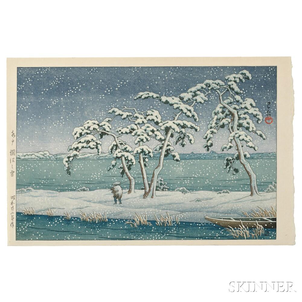 Kawase Hasui (1883-1957), Snow at Hinuma Swamp, Mito