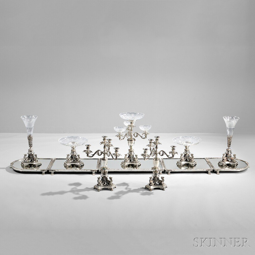 Twelve-piece Egyptian Revival Silver-plate and Cut Glass Surtout de Table Service