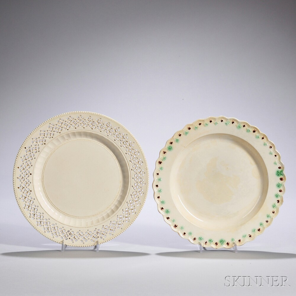 Two Lead-glazed Creamware Plates