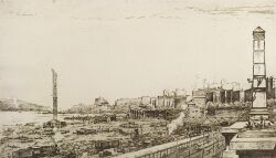 Lot of Two American Etchings:  American School, 20th Century, River Side Drive