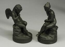 Assembled Pair of Wedgwood Black Basalt Figures of Cupid and Psyche