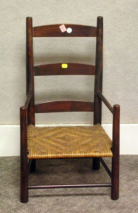 Childs Wooden Slat-back Armchair.