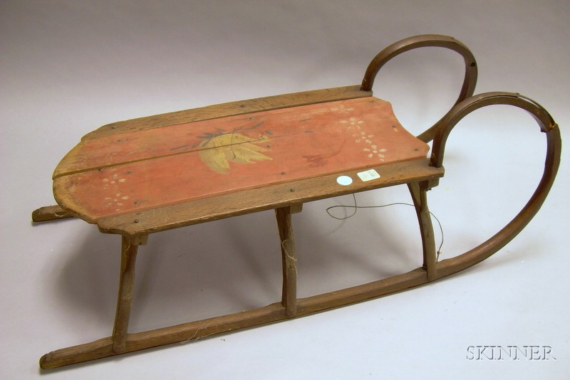 Painted and Polychrome Swan-decorated Wooden Sled.