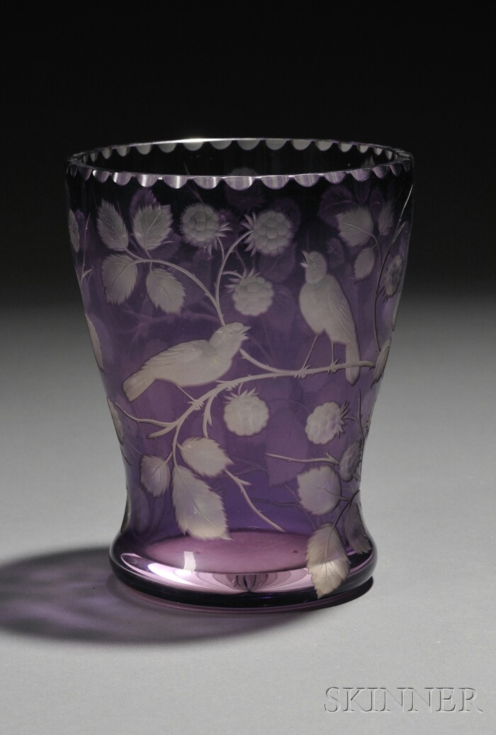 Acid-etched and Engraved Cut Glass Vase