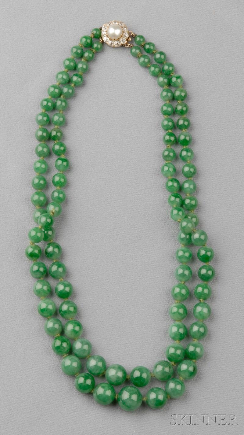Double Strand Jadeite Bead Necklace