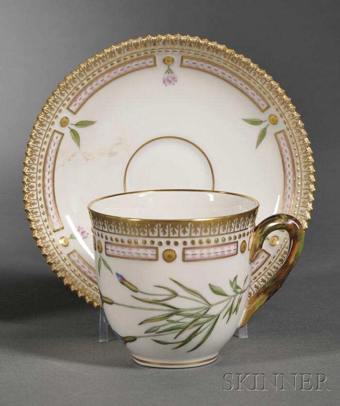 "Set of Twelve Royal Copenhagen Porcelain ""Flora Danica"" Teacups and Saucers"