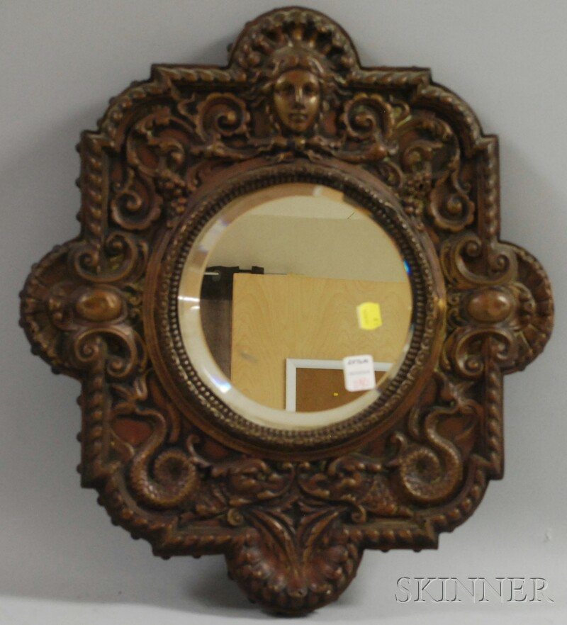 Baroque-style Pressed Copper-clad Wood Framed Mirror