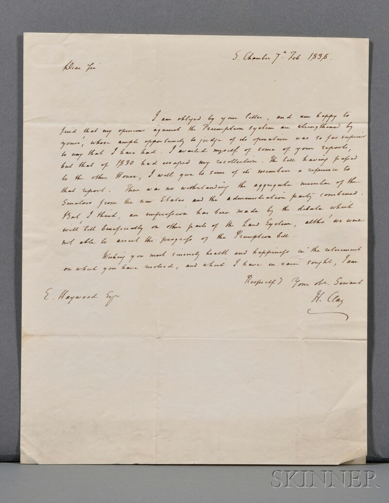 Clay, Henry (1777-1852) Autograph Letter Signed, 7 February 1836.