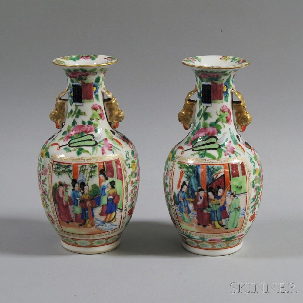 Pair of 19th Century Rose Medallion Bottle Vases