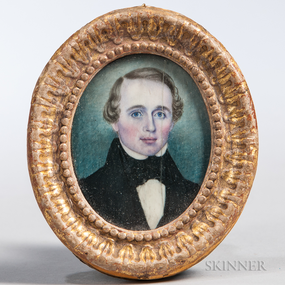 Attributed to Moses B. Russell (act. Massachusetts/New Hampshire, 1809-1884)      Portrait of a Young Man