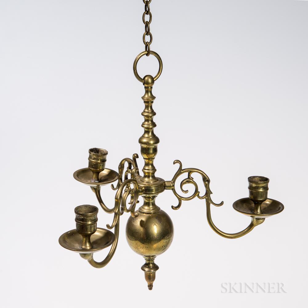 Small Three-light Brass Chandelier