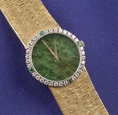 Lady's 18kt Gold, Jade and Gem-set Wristwatch, Piaget