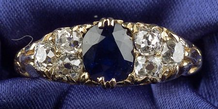 Antique 18kt Gold, Sapphire, and Diamond Ring