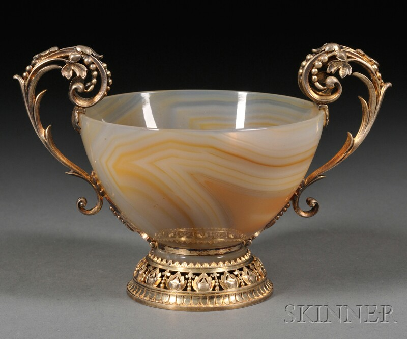 French Renaissance Revival Goldwashed .800 Silver-mounted Agate Bowl