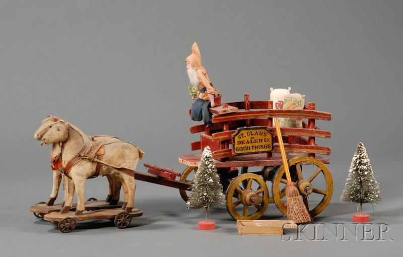 Painted Wooden Pull-Toy Wagon, with Horses and Santa Claus Figure