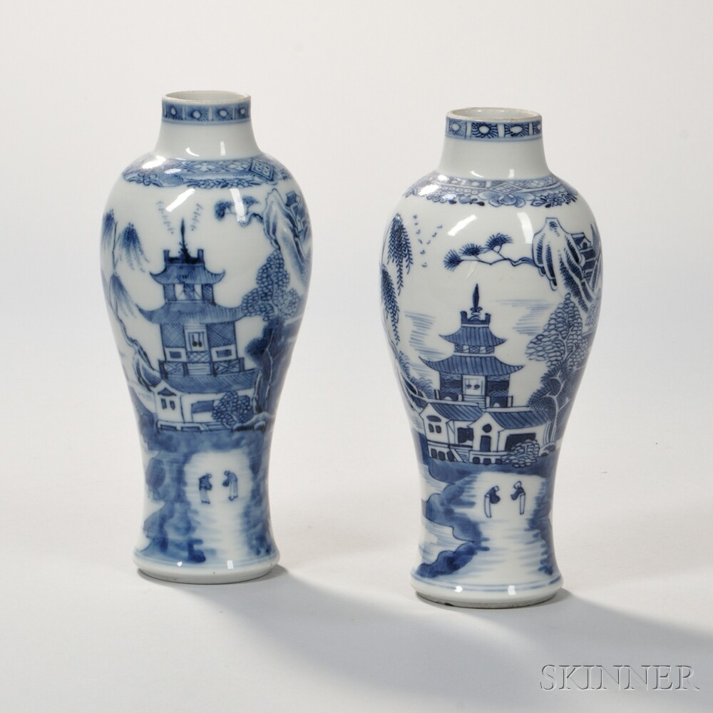 Two Blue and White Export Porcelain Vases