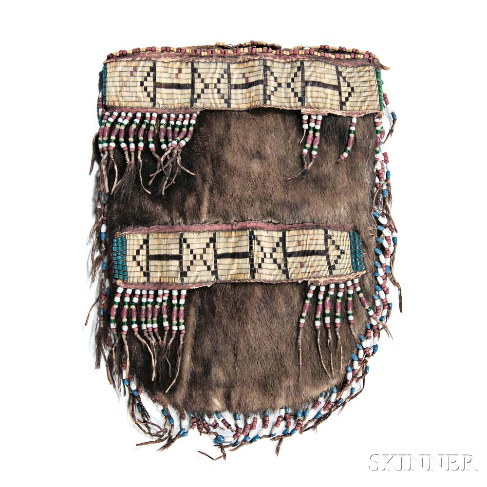Cree Quilled and Beaded Otter Hide Pouch